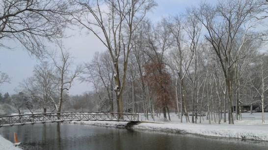 snowy canal bridge